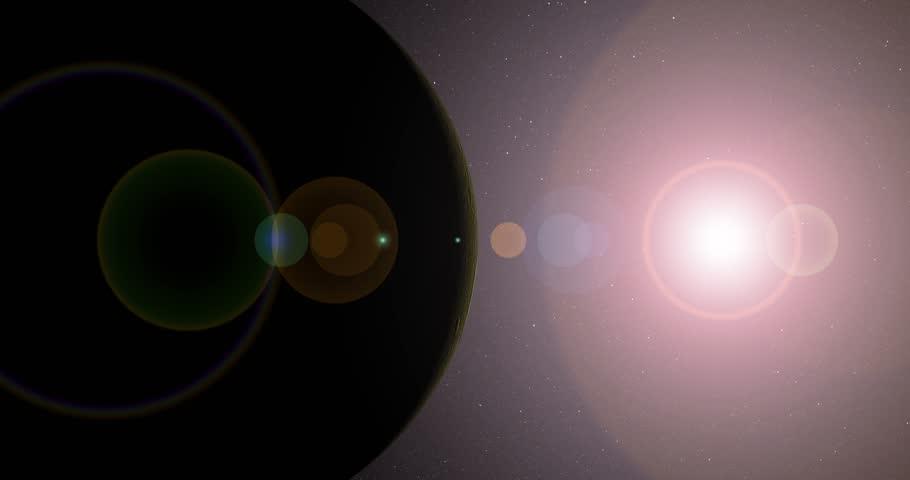 The sun bursts into view over Tethys' horizon and illuminates the surface. Data: NASA/JPL.   Shutterstock HD Video #17327317