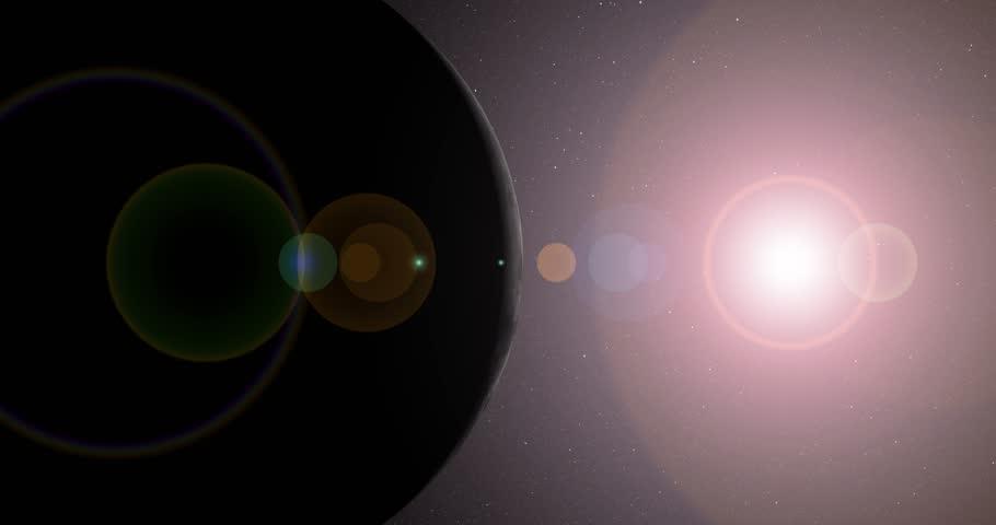 The sun bursts into view over the Moon's horizon and illuminates the surface at 0 degrees longitude. Data: NASA/JPL.   Shutterstock HD Video #17327344