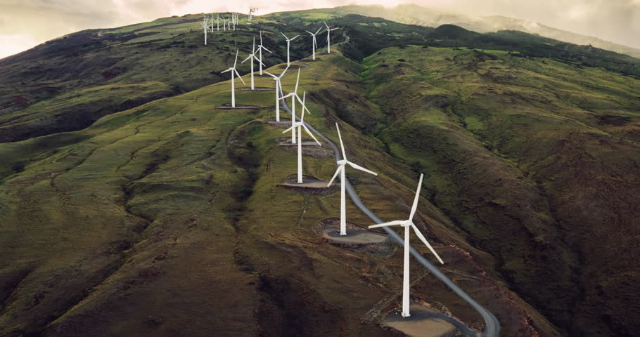 Aerial view of windmills turning at sunset, wind power turbines generating clean renewable energy | Shutterstock HD Video #17354890