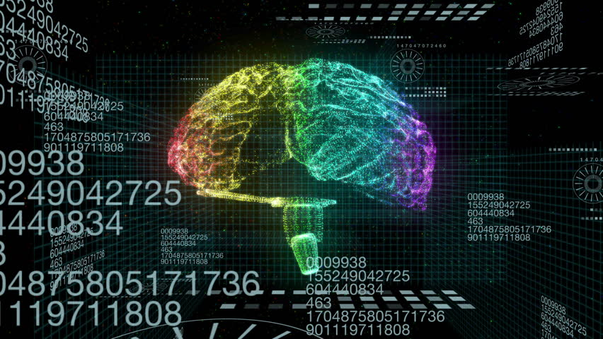Colorful Brain hologram seamless  motion graphics footage for scientific films and television programs about health, biochemistry, technology, medicine, nanotechnology and more.
