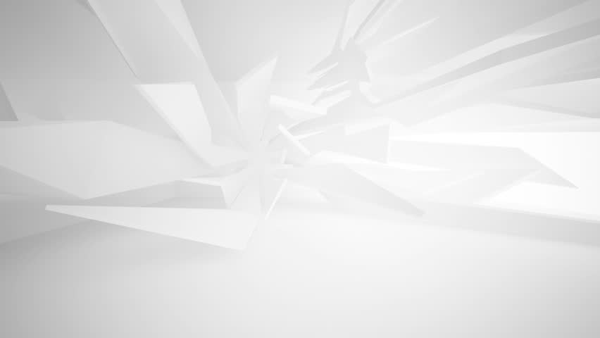 Abstract white interior of the future. Architectural background.3D animation. 3D rendering. Part 2