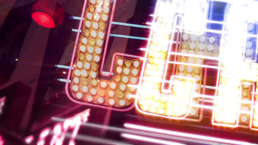 Casino Neon Sign with Flashing Light Bulbs