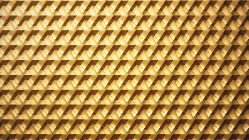 Perfect loop of rotating metallic cubes. 24 karat gold.