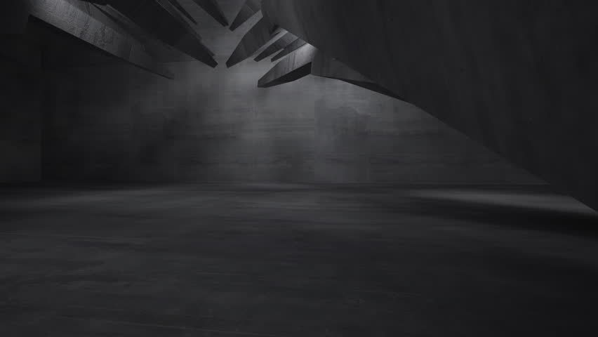 Empty dark abstract concrete room interior. Architectural background. Night view of the illuminated. 3D animation. 3D rendering. Part 3