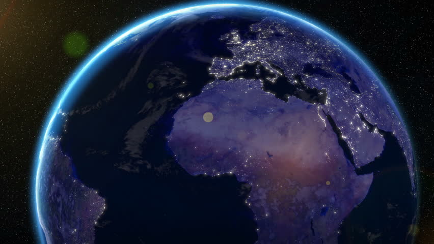 Earth Orbit Night - City Lights from Space Europe