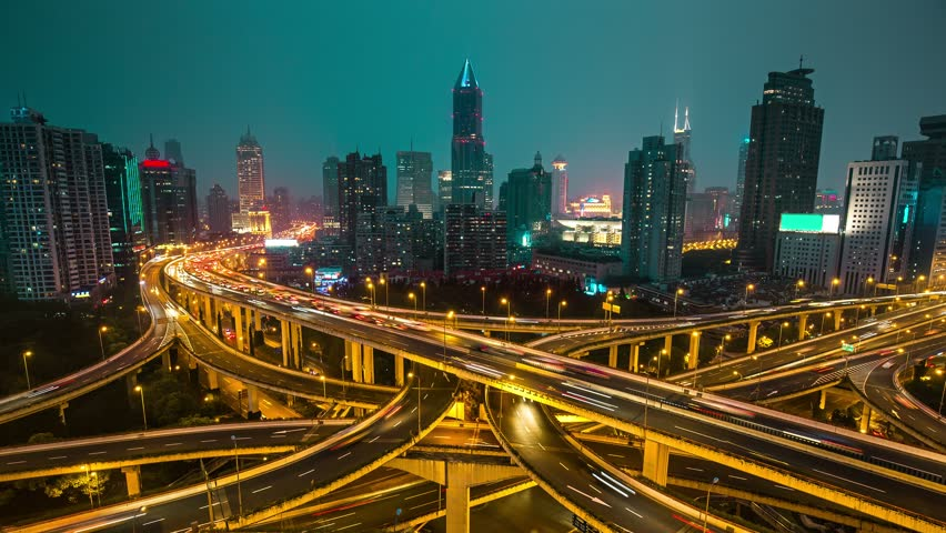 Famous highway intersection in Shanghai, China. Many intersecting highways with fast moving traffic. Time lapse. | Shutterstock HD Video #17487064