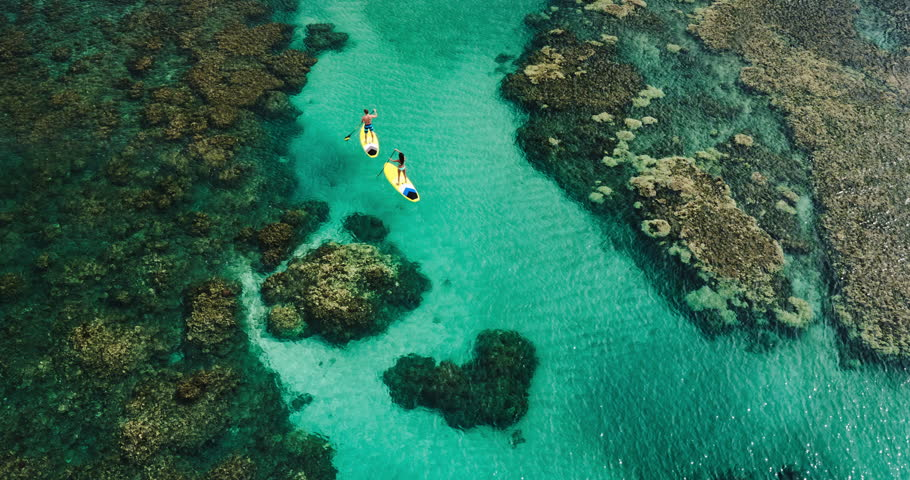 Aerial view of young couple stand up paddling on vacation