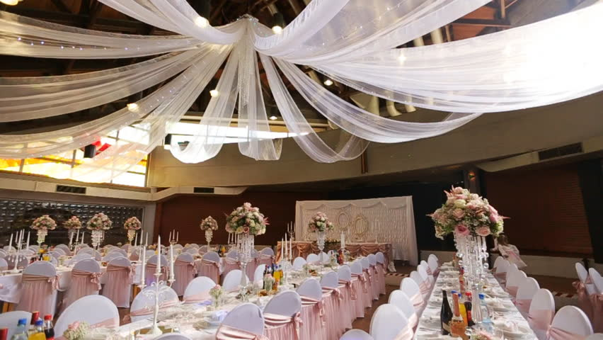 Interior of a wedding hall decoration ready for guests for Hall decoration