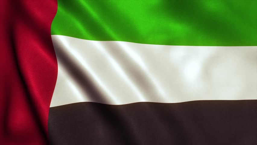 UAE Flag of Dubai, Abu Dhabi and the United Arab Emirates. Seamless Looping Animation. 4K High Definition Video