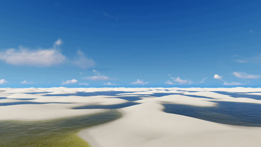 Travel through unique white sand dunes and rainwater lagoons in Lencois Maranhenses National Park in Brazil on off-road vehicles SUVs. 3D animation rendered in 4K, ultra high definition. | Shutterstock HD Video #17685586