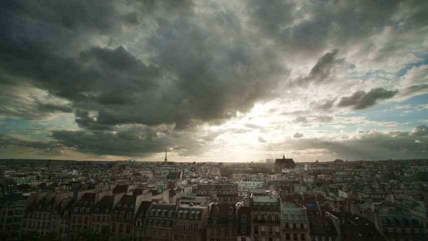 Timelapse of clouds over Paris rooftops   Shutterstock HD Video #1776368