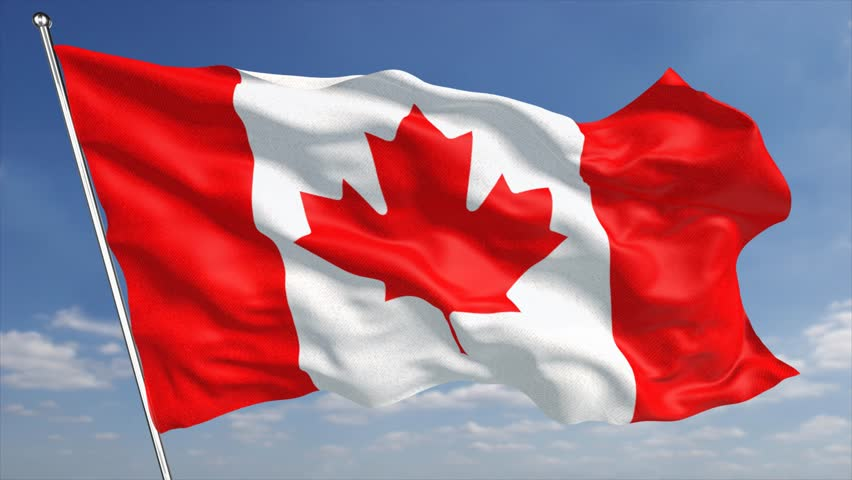 Canadian Flag Waving In A Windy Day. Red And White, The ...