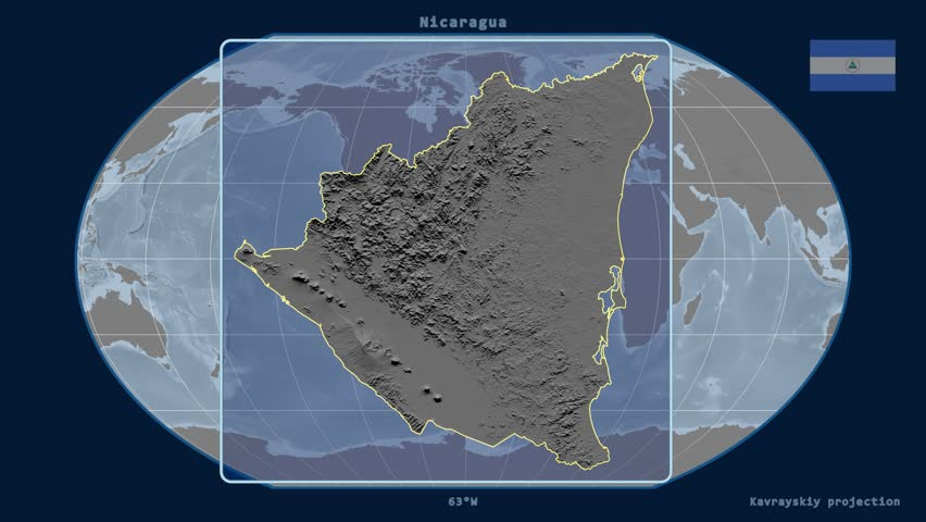 Zoomed-in view of a Nicaragua outline with perspective lines against a global elevation map in the Kavrayskiy VII projection   Shutterstock HD Video #17928646