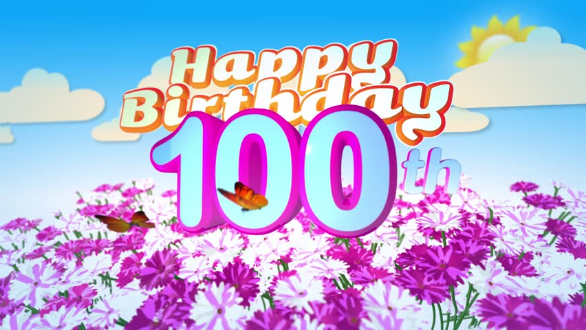 Candles On A Cake Are Blown Out For A 100th Birthday One