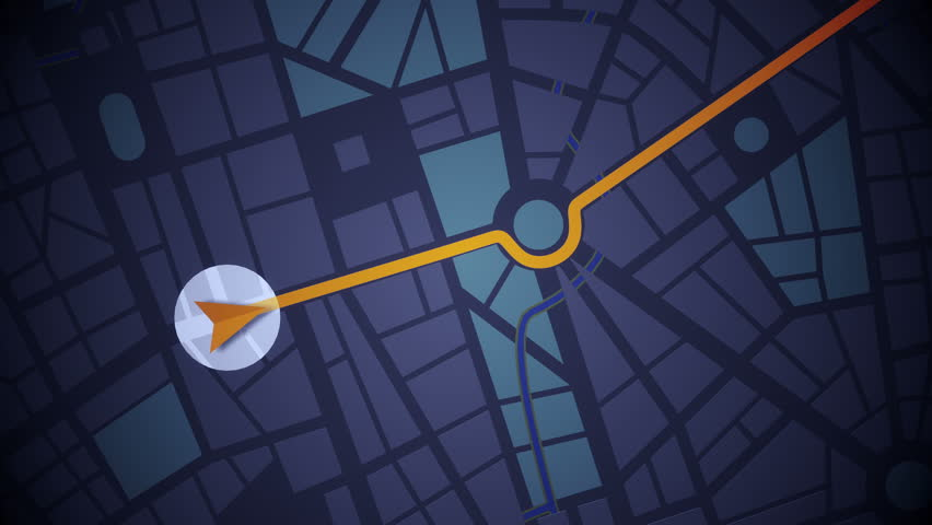 GPS Navigation, Localization. Seamless loop. 2D view. 4k, Ultra HD, UHD.