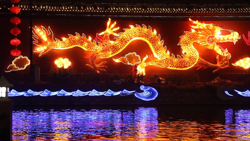 chinese dragon with flash