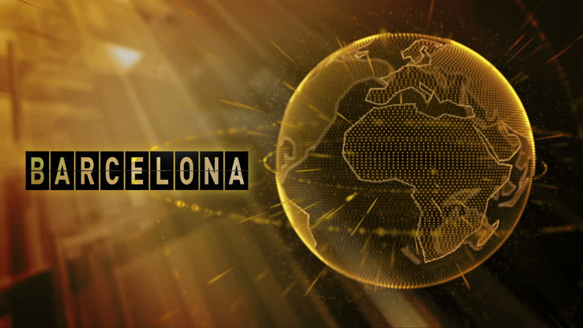 3d animated planet earth with a billboard and the destination of the city of Barcelona