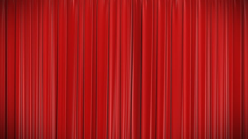 Highly detailed 3d animation of Red curtain opening and closing with green screen, HD 1080.