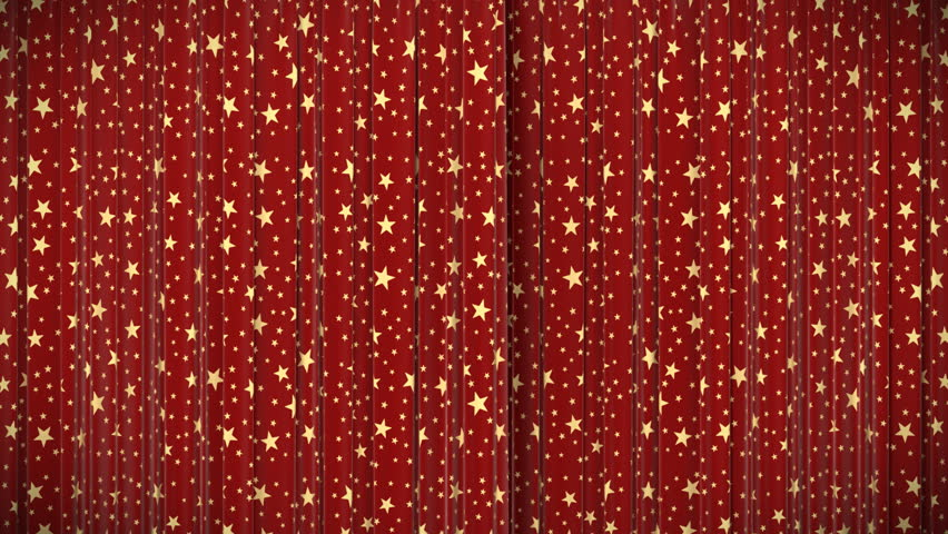 Highly detailed 3d animation of Red curtain with stars, Opening and closing with green screen, HD 1080.