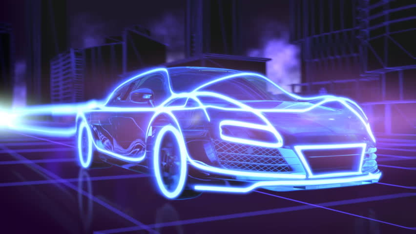 Abstract animation of a futuristic blue car in 4K UHD, cgi made with wireframes on an animated futuristic city background to highlight the automobile and it's technology and engineering