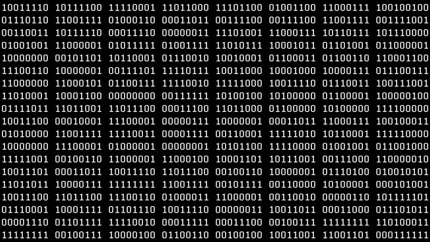 8-Bit Scrolling Binaries Screensaver (30fps). Full screen saver black and white graphic loop of scrolling groups of 8-bit binary data cycling on and off 1s and 0s.