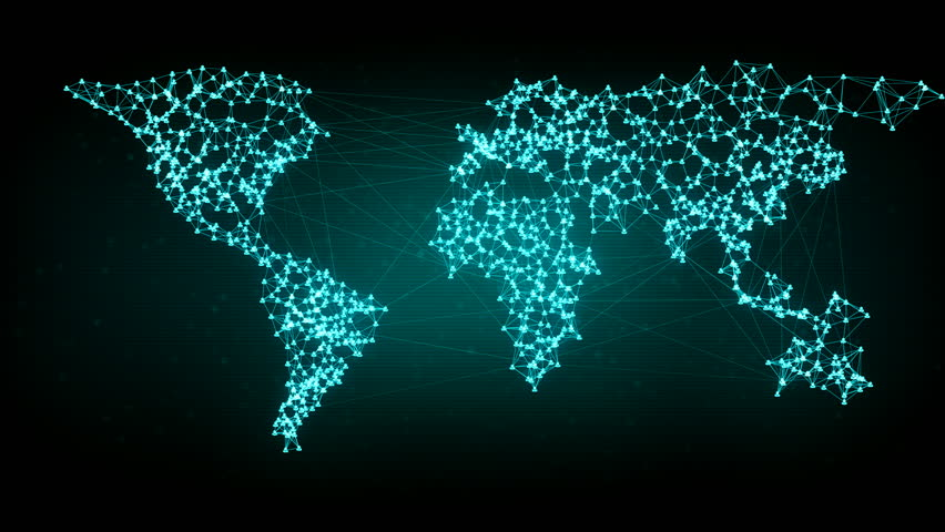 Social network connection. Connecting people on the internet, nodes transforming into the shape of a world map. Green version. Also available in orange. 4K | Shutterstock HD Video #18542330