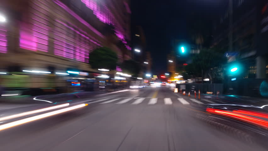 Hyperlapsed view from a car at night. POV....