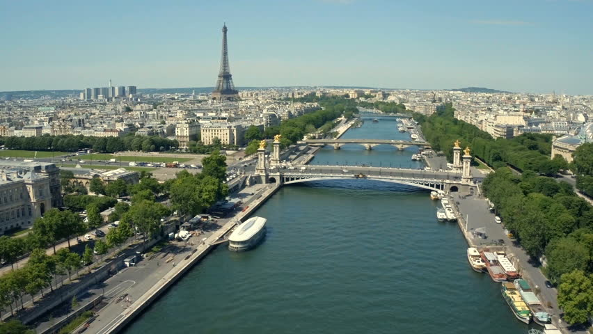 Aerial view of Paris, France with Seine River and Eiffel tower in background. | Shutterstock HD Video #18667361