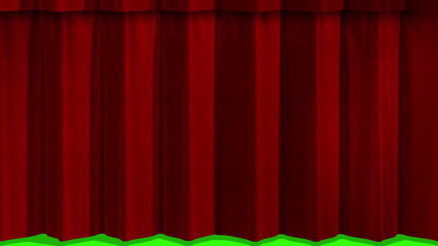 Opening Red Textile Theatre Curtains HD Video 1920x1080. Scene ...