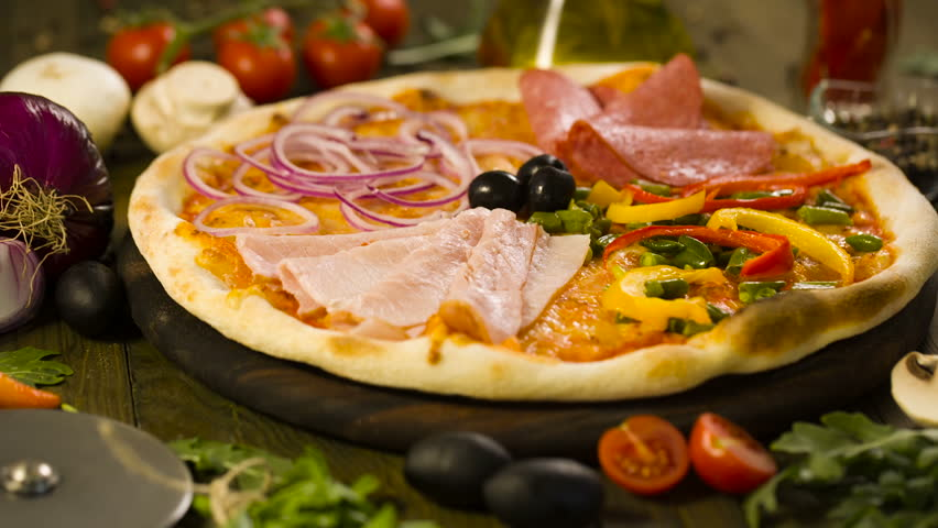 Tasty Pizza, and ingredients on background | Shutterstock HD Video #18754487
