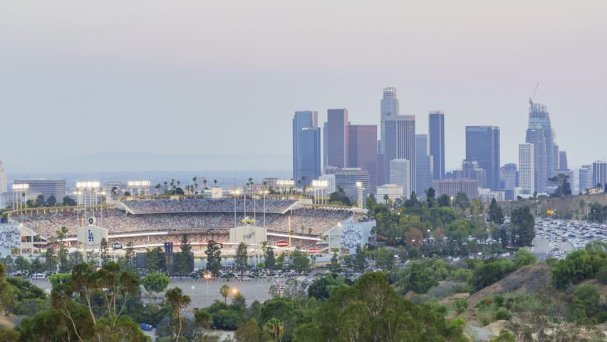 angels point dodger stadium los angeles skyline
