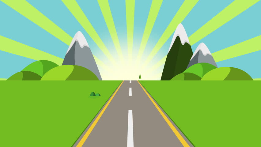 ride through a cartoon highway seamless loop. Animated road on a sunny day with space for your object, text or logo Seamlessly loop. Colorful cartoon nature background full hd and 4k.