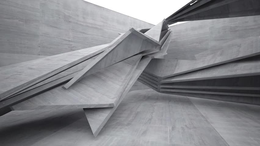Empty dark abstract concrete room interior.3D animation. 3D rendering. Part 2