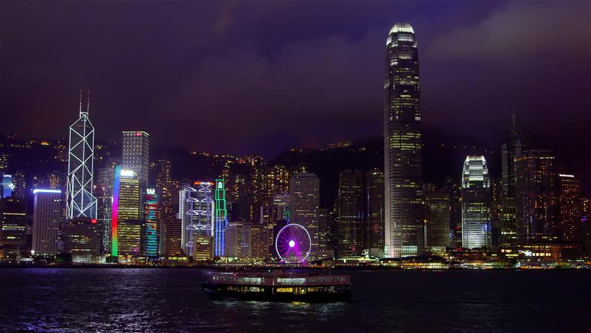 CHINA, HONG KONG - OCTOBER 2015: Night Skyscraper Skyline & Ferries; Hong Kong China | Shutterstock HD Video #18956114