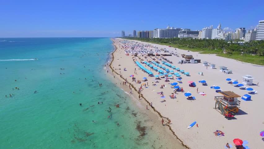 Aerial video of Summer in Miami Florida