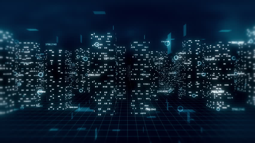 Computer generated, loop ready 3D financial city...