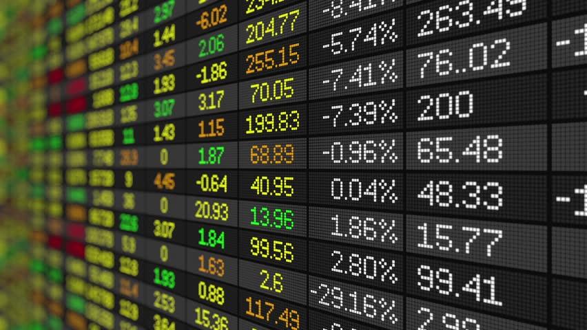 Seamless loop of Stock Market ticker board moving up | Shutterstock HD Video #19066624