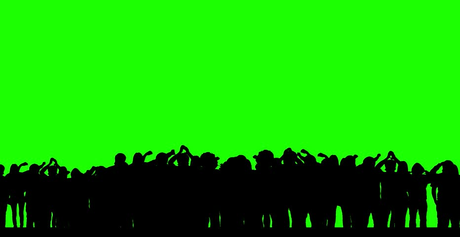 Dancing crowd (green screen) - silhouettes