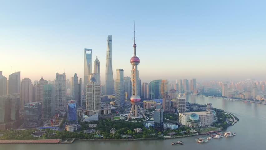 Aerial View,shanghai skyline and huangpu river