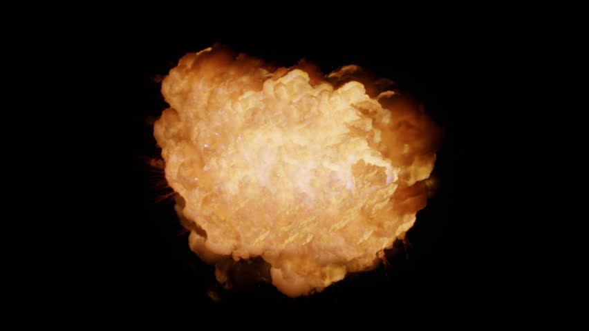 Realistic explosion and flames with alpha channel. VFX element.