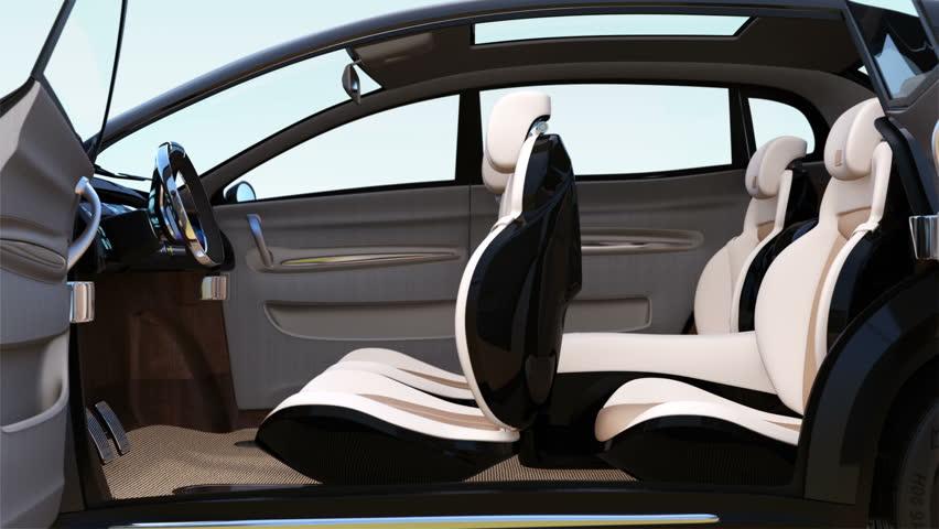 3D animation of autonomous SUV car interior concept. Original design.