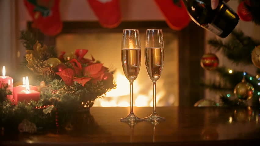 New Year And Christmas Celebration With Champagne Two