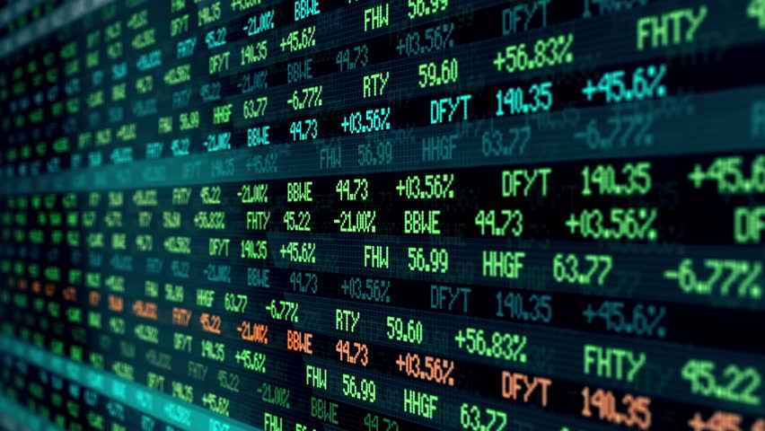 Stock Market Tickers Blue Zoom Out 3 Videos In 1 File