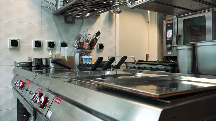 PRAGUE, CZECH REPUBLIC - JULY 2, 2016: professional kitchen in the restaurant - nobody - closeup | Shutterstock HD Video #19746121