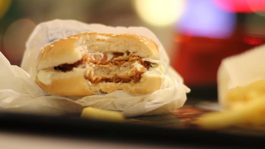 Fast-food burger bite