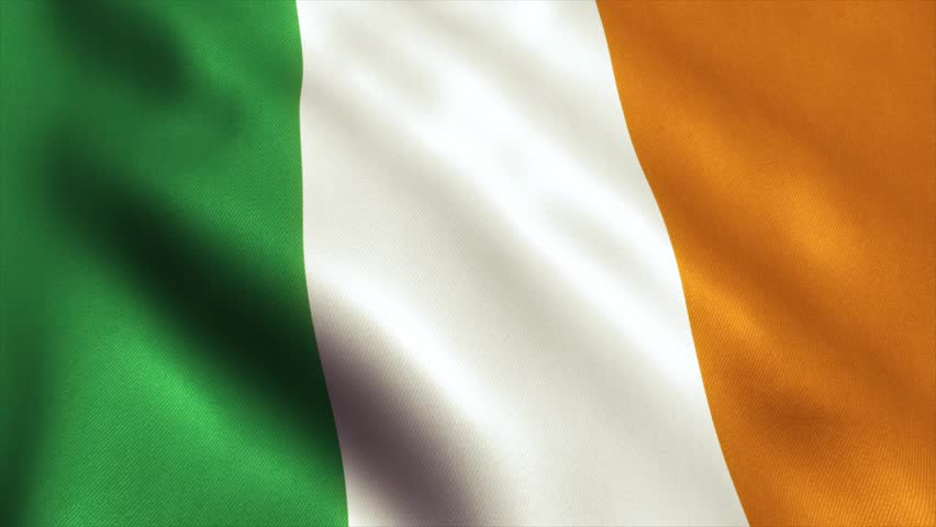 Ireland Flag. Seamless Looping Animation. 4K High Definition Video