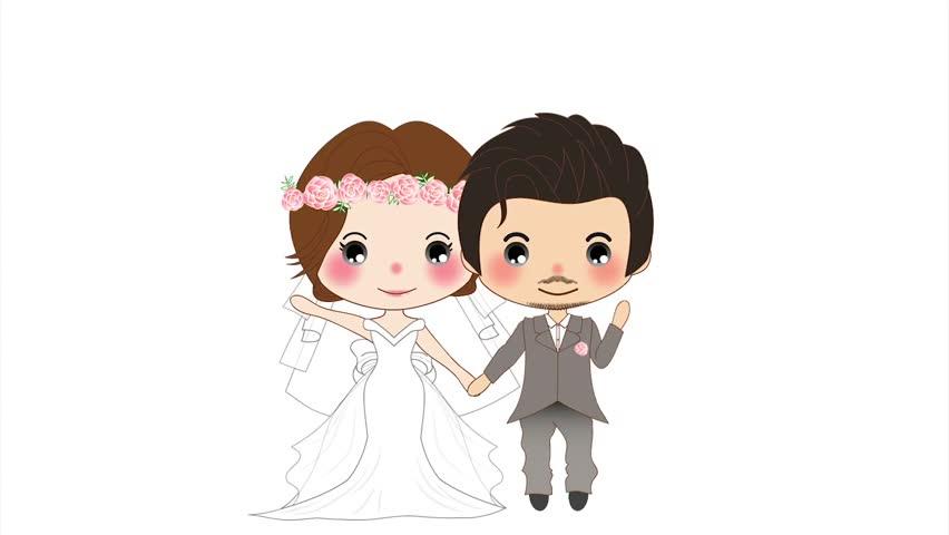 Kissing Lesbian Wedding Couple - Heart Added Stock Footage -9860