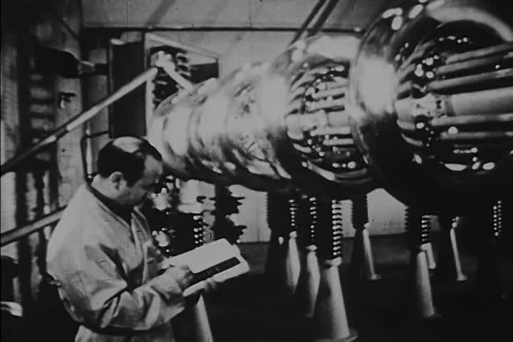 A narrator in 1970 describes 1940s footage of America and Russia's competing atomic weaponry. (1970s)