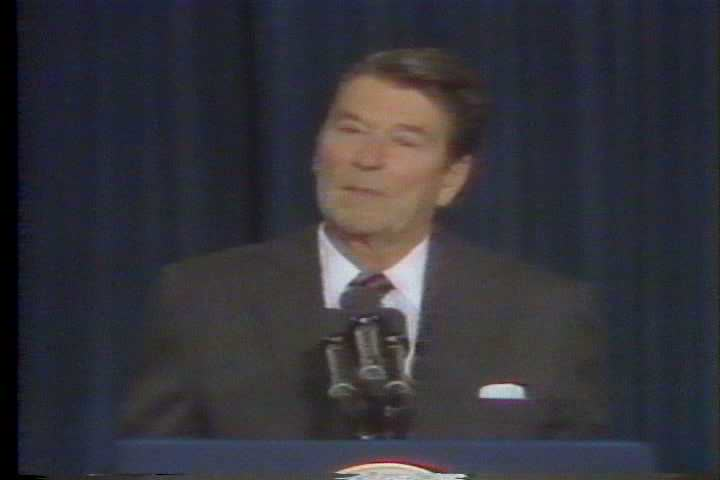 President Ronald Wilson Reagan mentions Vice President George Herbert Walker Bush in a speech on crime in the 1980s. (1980s)