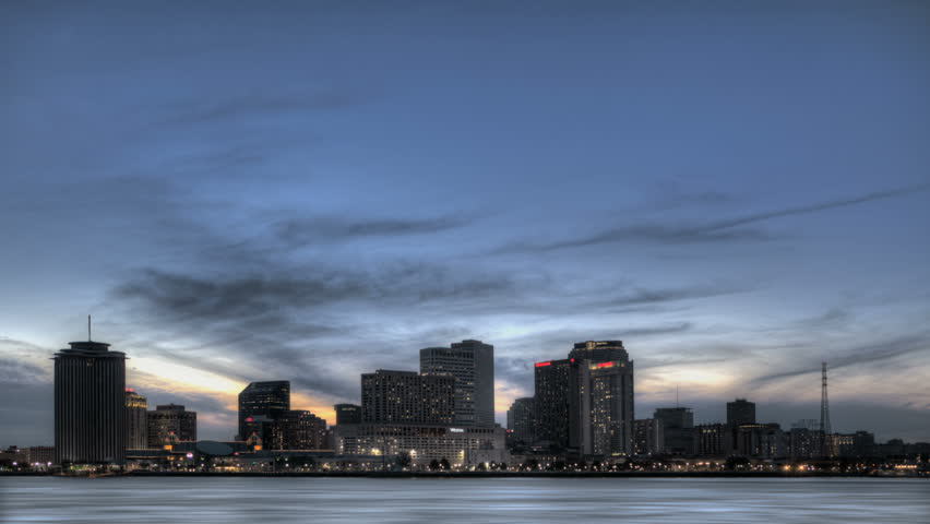 NEW ORLEANS  - DEC 09: Timelapse of the Skyline an Mississippi River at twilight